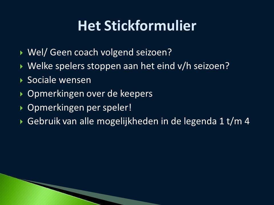 Het Stickformulier Wel/ Geen coach volgend seizoen