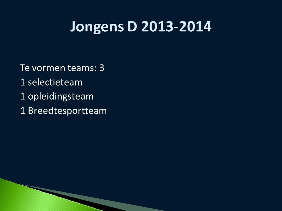 Jongens D 2013-2014 Te vormen teams: 3 1 selectieteam 1 opleidingsteam 1 Breedtesportteam