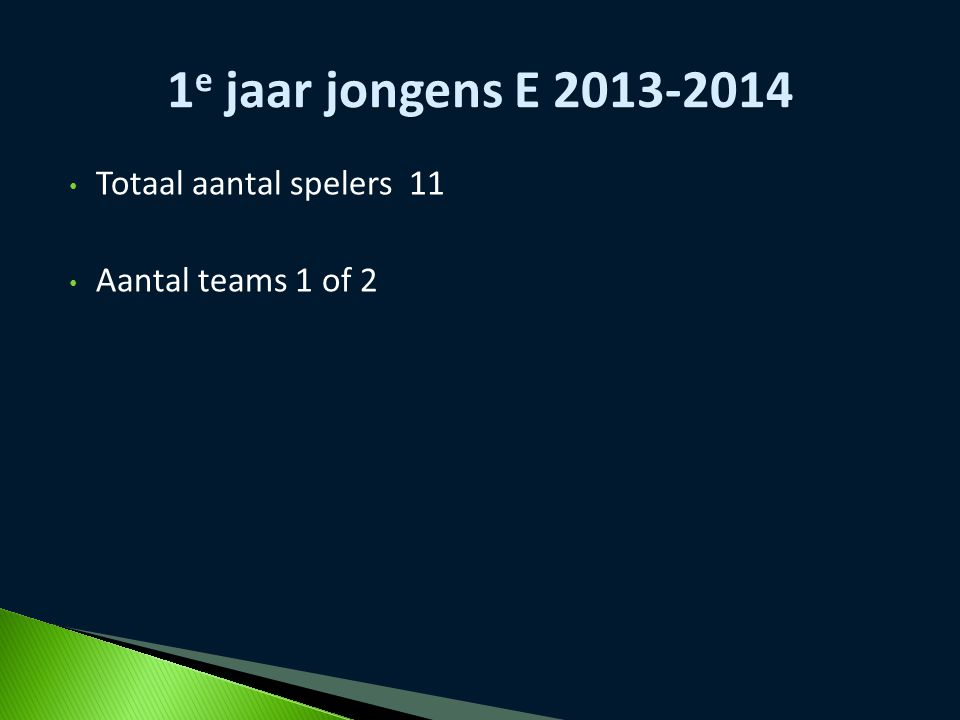 1e jaar jongens E 2013-2014 Totaal aantal spelers 11