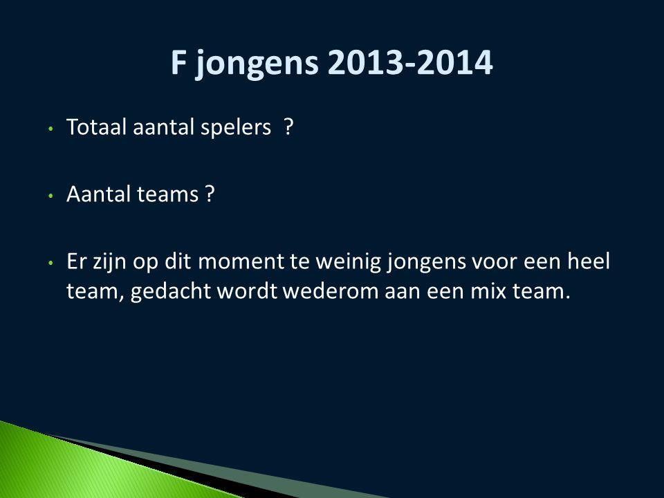 F jongens 2013-2014 Totaal aantal spelers Aantal teams