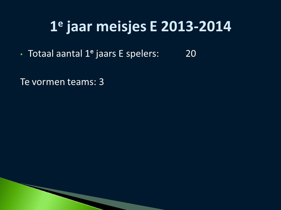 1e jaar meisjes E 2013-2014 Totaal aantal 1e jaars E spelers: 20
