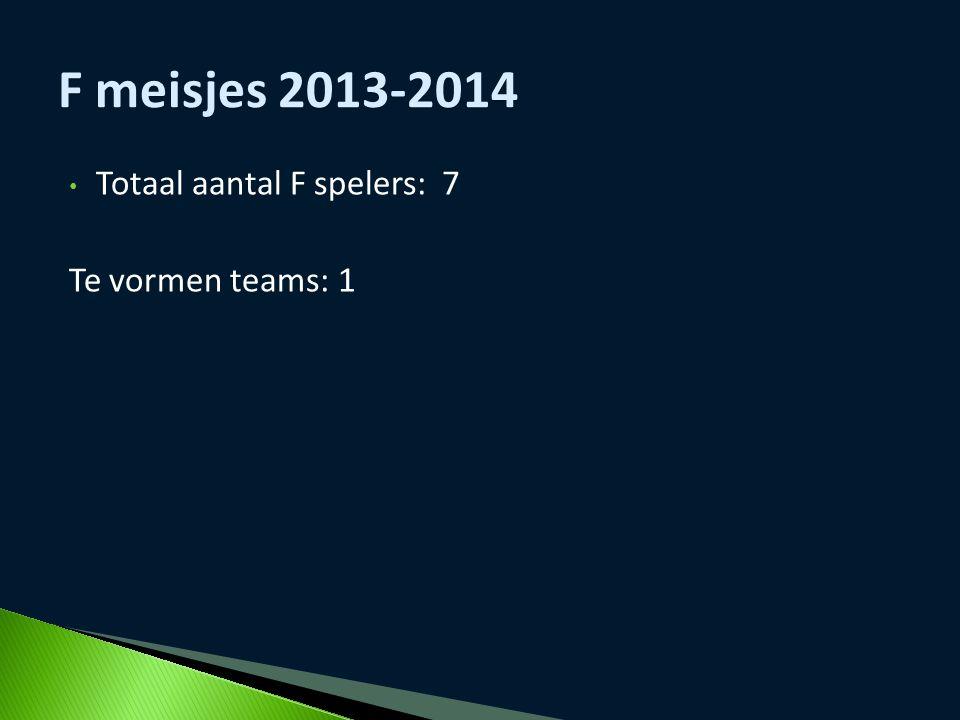 F meisjes 2013-2014 Totaal aantal F spelers: 7 Te vormen teams: 1