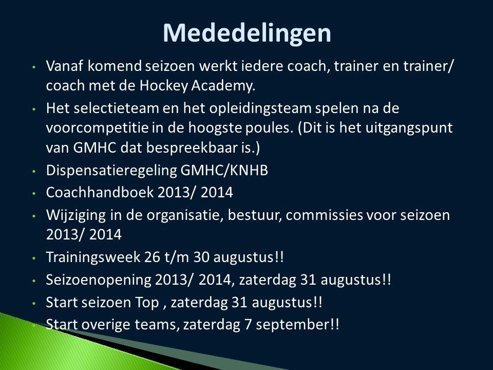 Mededelingen Vanaf komend seizoen werkt iedere coach, trainer en trainer/ coach met de Hockey Academy.