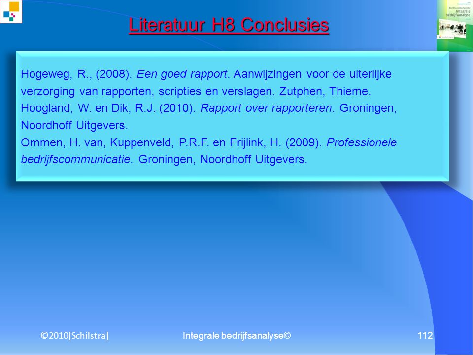 Literatuur H8 Conclusies