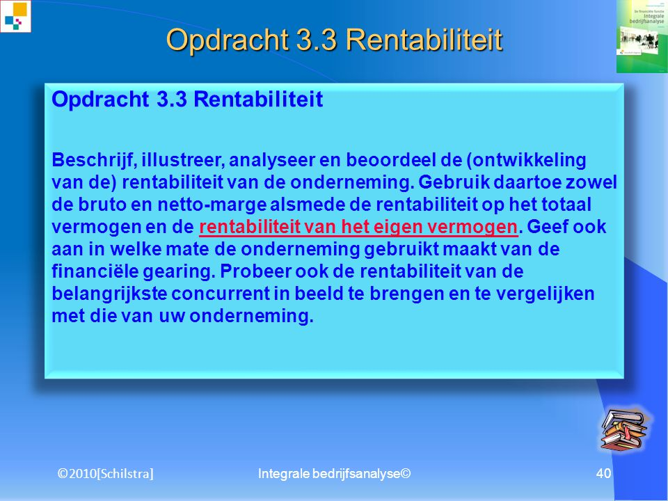 Opdracht 3.3 Rentabiliteit