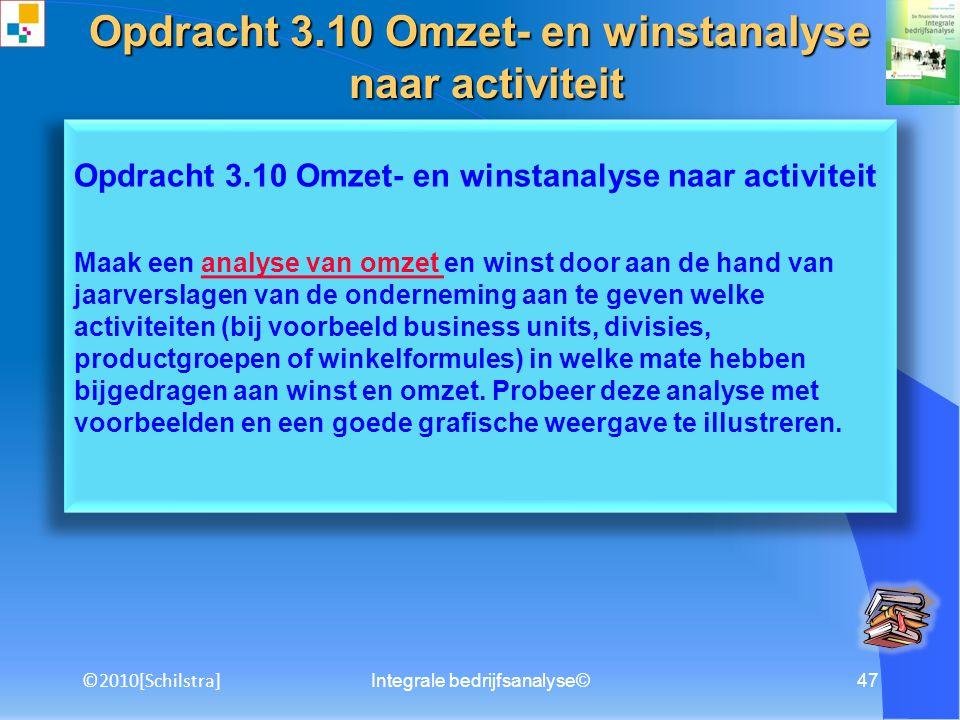 Opdracht 3.10 Omzet- en winstanalyse naar activiteit