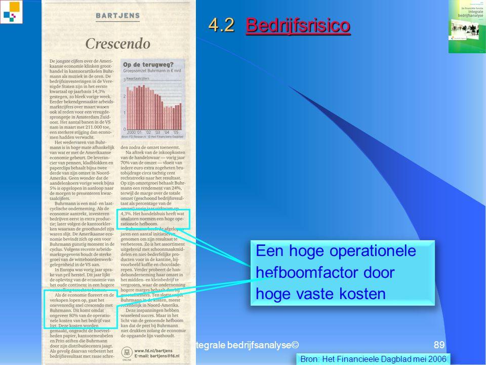 4.2 Bedrijfsrisico Een hoge operationele hefboomfactor door
