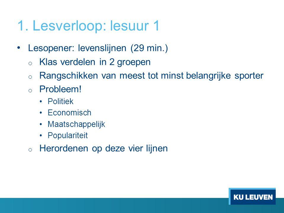 1. Lesverloop: lesuur 1 Lesopener: levenslijnen (29 min.)