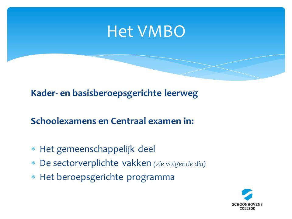 Het VMBO Kader- en basisberoepsgerichte leerweg