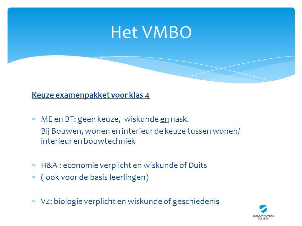 Het VMBO Keuze examenpakket voor klas 4