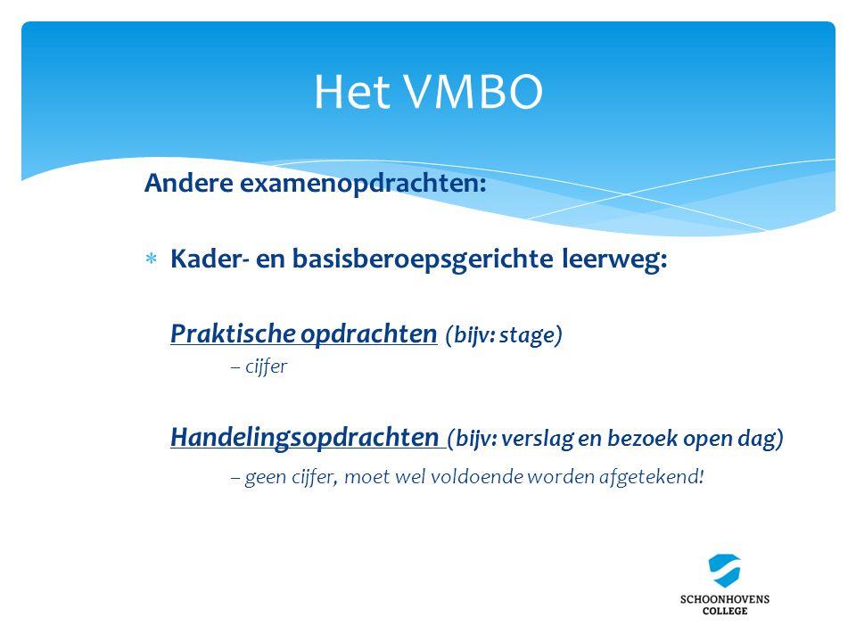 Het VMBO Andere examenopdrachten: