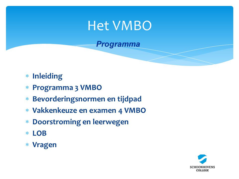 Het VMBO Programma Inleiding Programma 3 VMBO