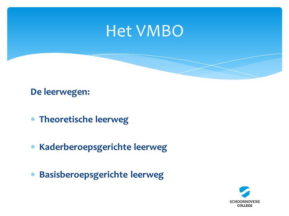 Het VMBO De leerwegen: Theoretische leerweg
