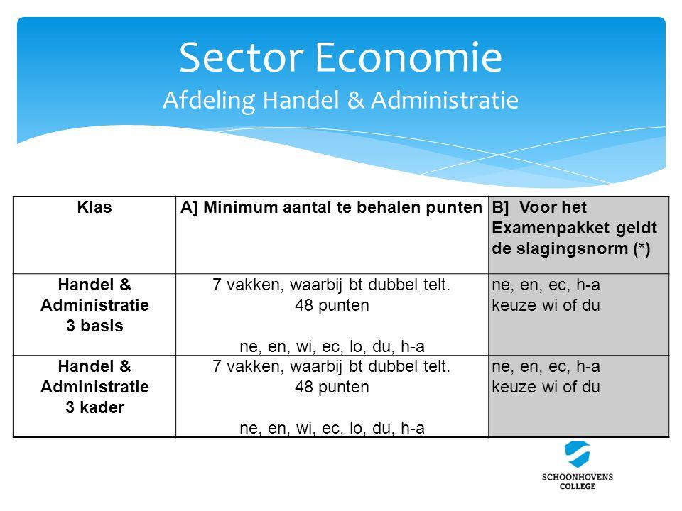 Sector Economie Afdeling Handel & Administratie