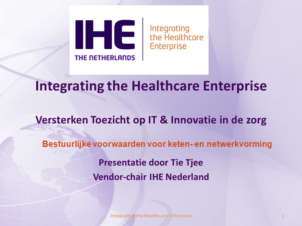 Presentatie door Tie Tjee Vendor-chair IHE Nederland