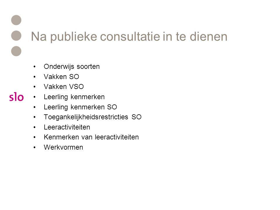 Na publieke consultatie in te dienen