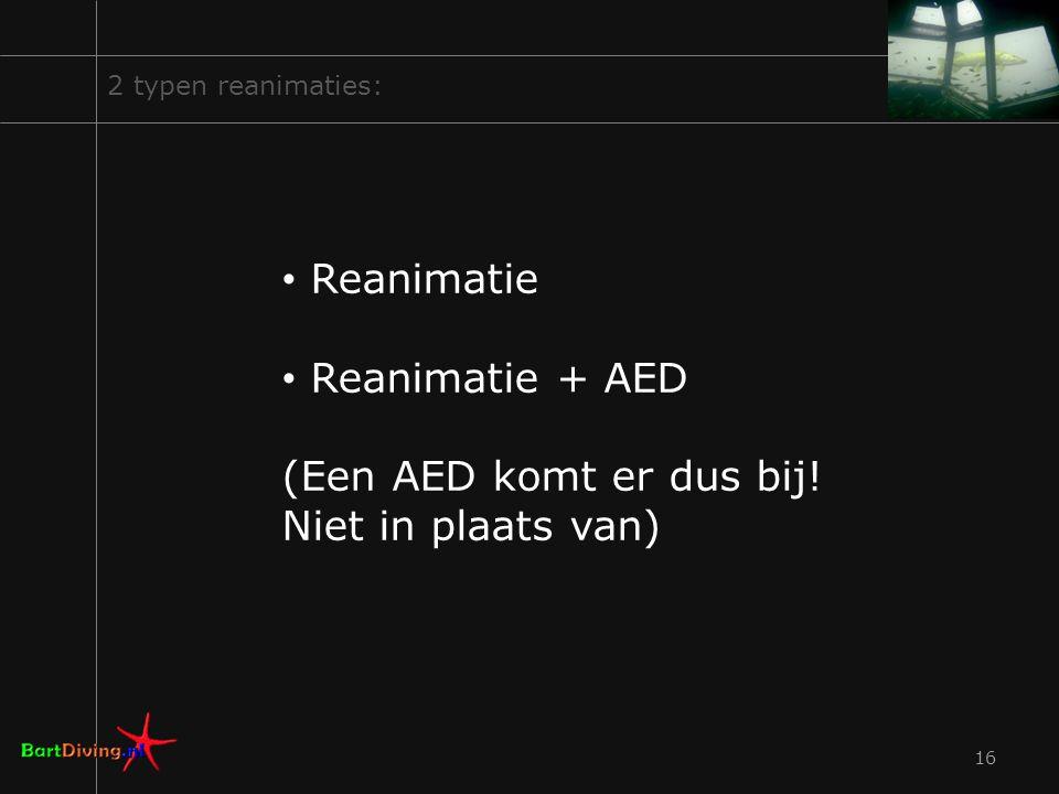 Reanimatie Reanimatie + AED (Een AED komt er dus bij!