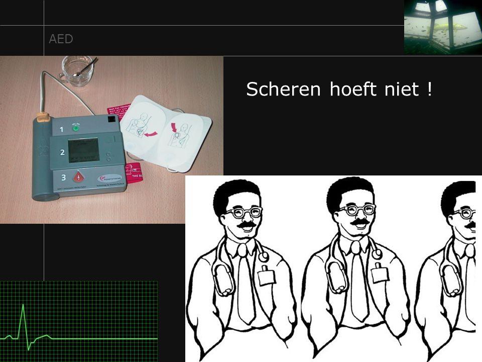 AED Scheren hoeft niet ! Een AED kan het hartritme net zo goed beoordelen als 2 en een halve cardioloog bij elkaar.