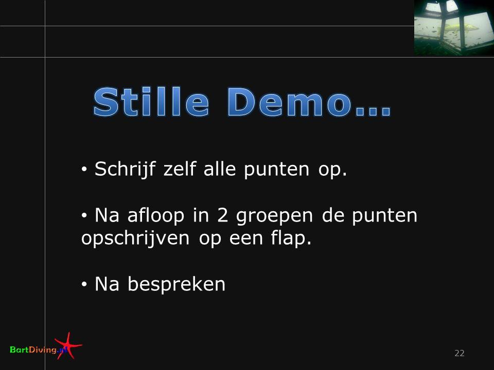 Stille Demo… Schrijf zelf alle punten op.