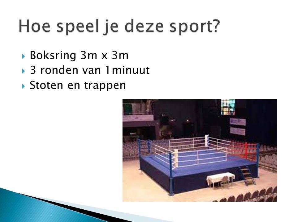 Hoe speel je deze sport Boksring 3m x 3m 3 ronden van 1minuut