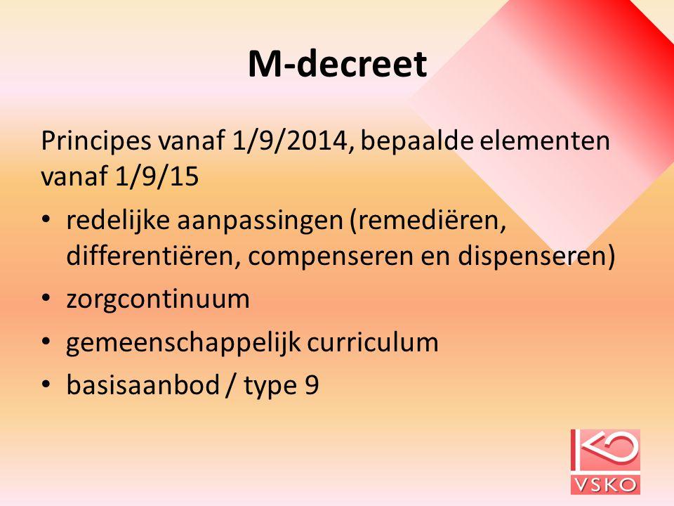 M-decreet Principes vanaf 1/9/2014, bepaalde elementen vanaf 1/9/15