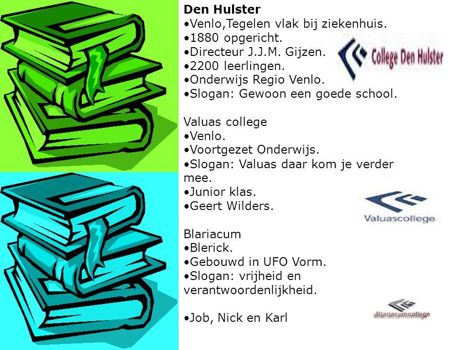 Den Hulster Venlo,Tegelen vlak bij ziekenhuis. 1880 opgericht. Directeur J.J.M. Gijzen. 2200 leerlingen.