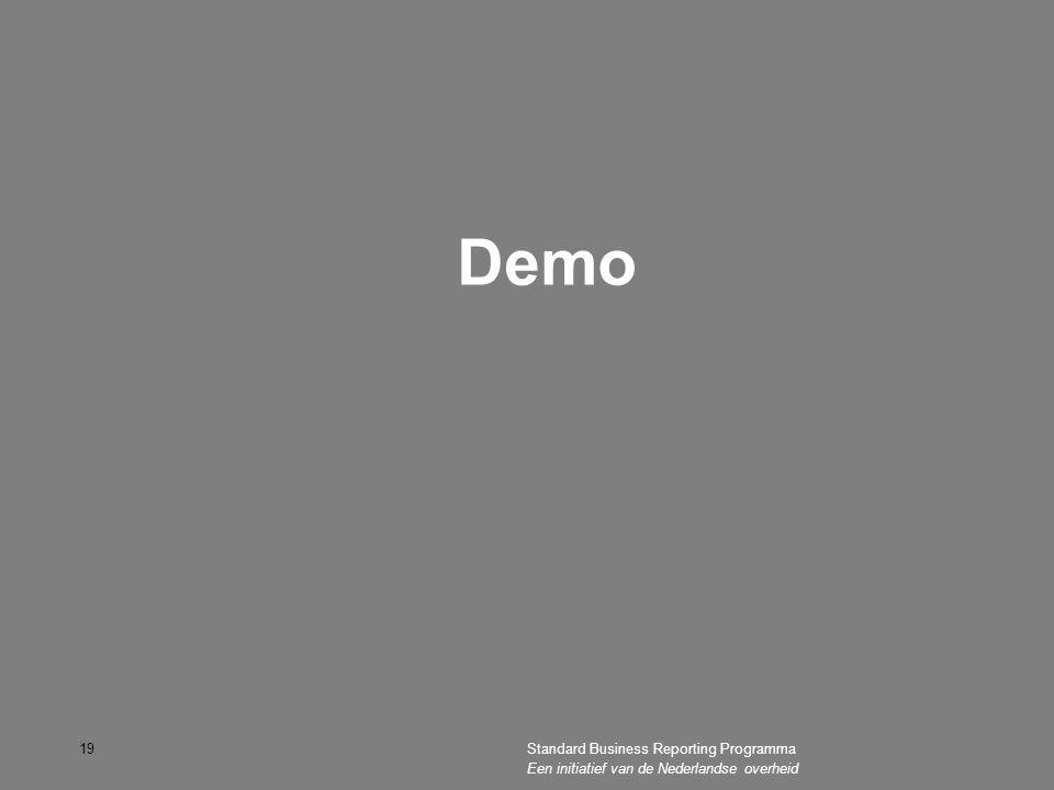 Demo Standard Business Reporting Programma Een initiatief van de Nederlandse overheid