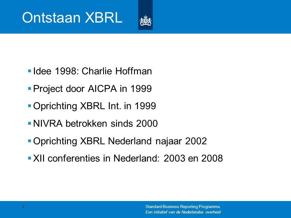 Ontstaan XBRL Idee 1998: Charlie Hoffman Project door AICPA in 1999