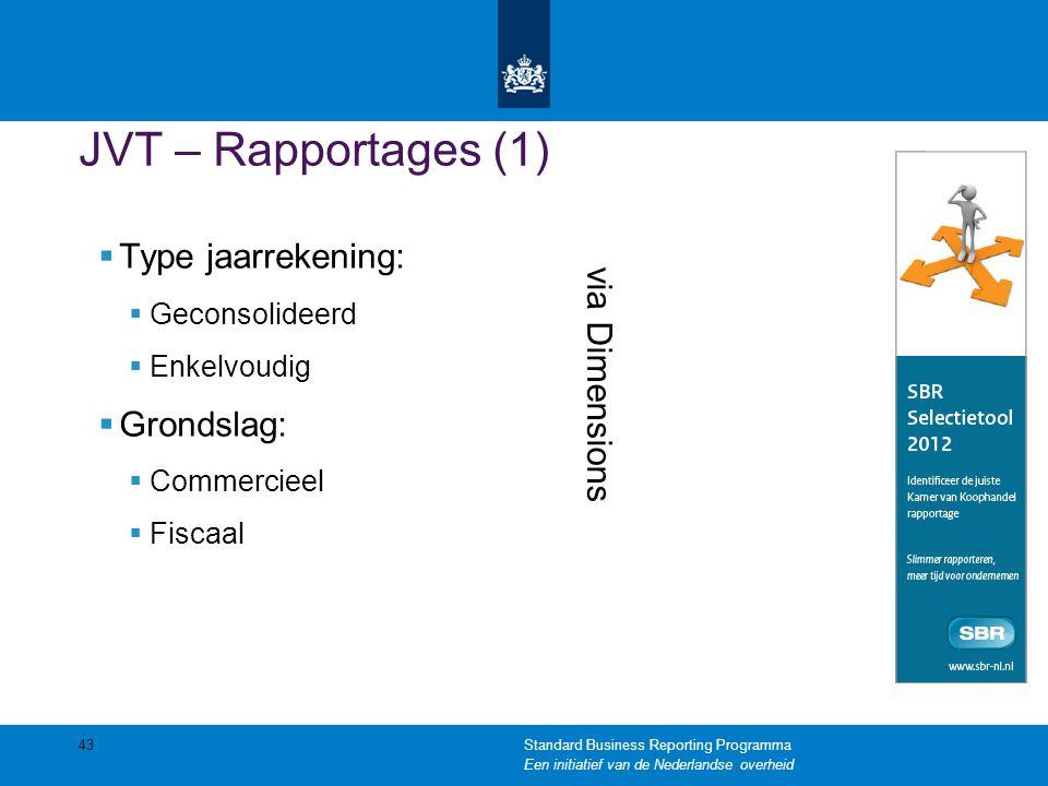 JVT – Rapportages (1) Type jaarrekening: Grondslag: via Dimensions