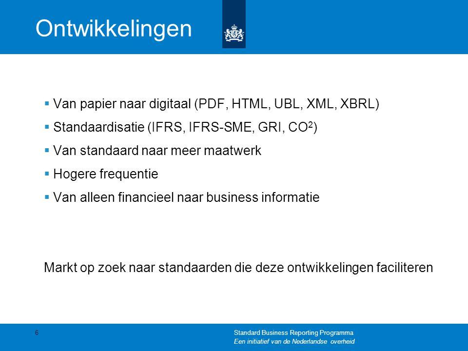 Ontwikkelingen Van papier naar digitaal (PDF, HTML, UBL, XML, XBRL)
