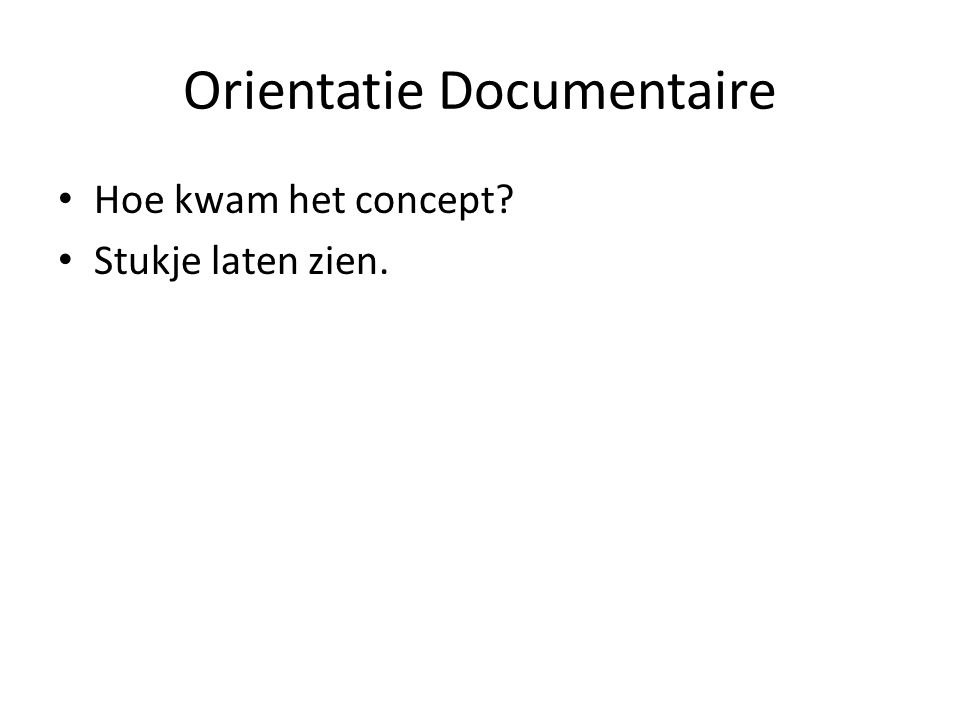 Orientatie Documentaire