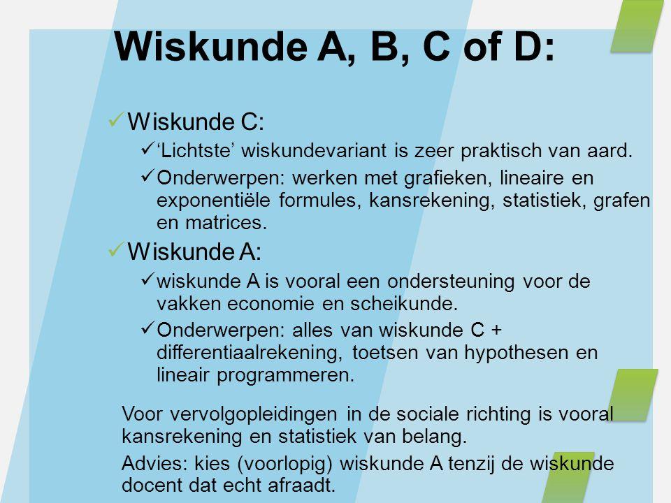 Wiskunde A, B, C of D: Wiskunde C: Wiskunde A: