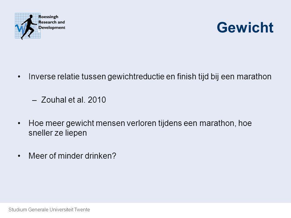Gewicht Inverse relatie tussen gewichtreductie en finish tijd bij een marathon. Zouhal et al. 2010.