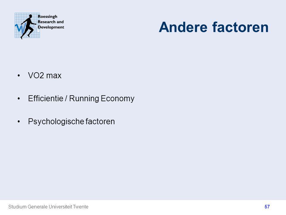 Andere factoren VO2 max Efficientie / Running Economy