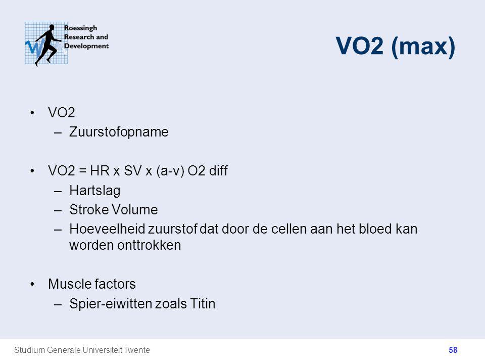 VO2 (max) VO2 Zuurstofopname VO2 = HR x SV x (a-v) O2 diff Hartslag