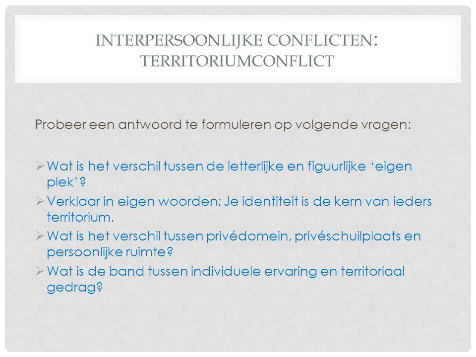 Interpersoonlijke conflicten: Territoriumconflict