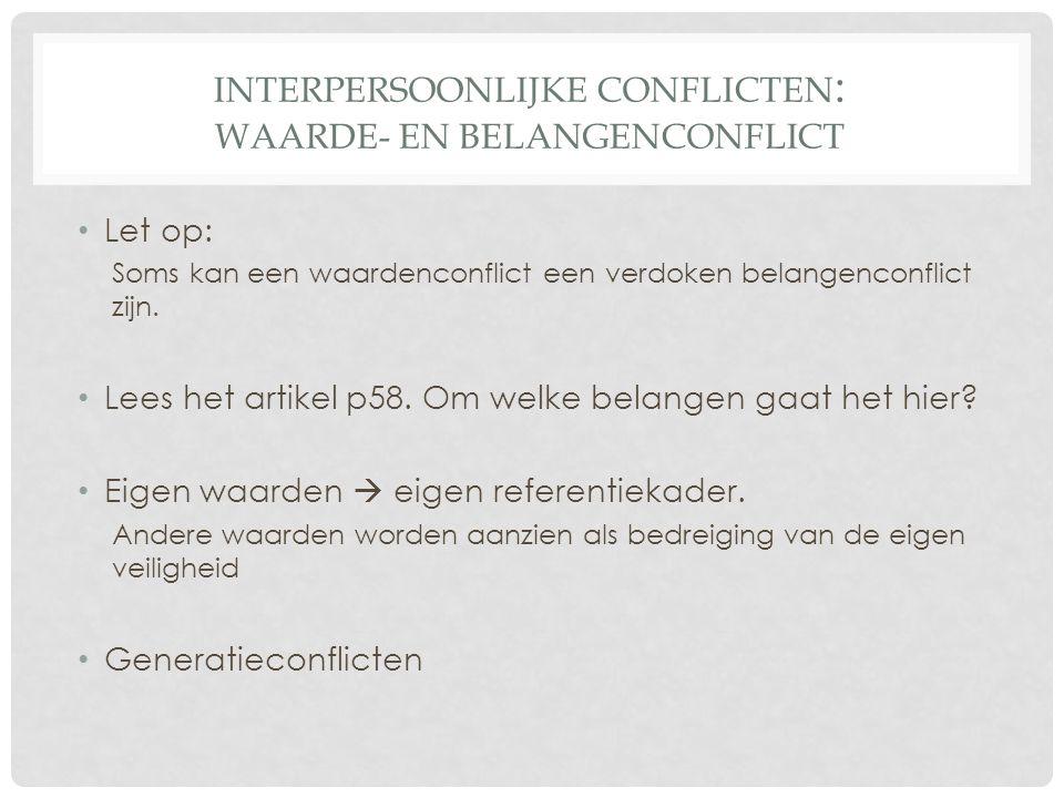 Interpersoonlijke conflicten: Waarde- en belangenconflict