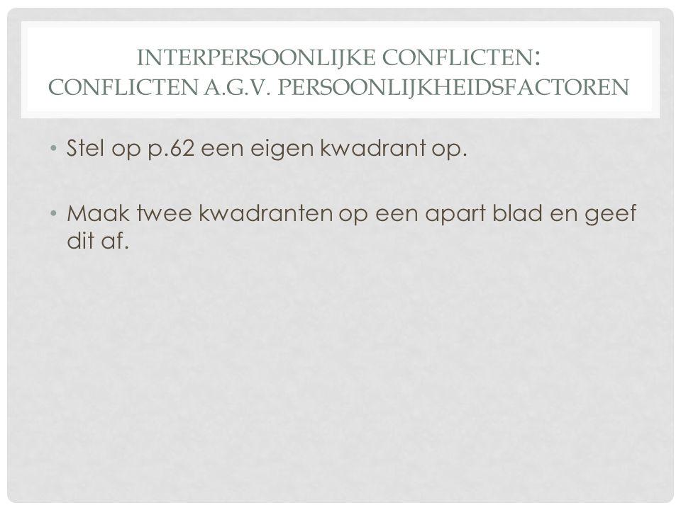 Interpersoonlijke conflicten: Conflicten a. g. v