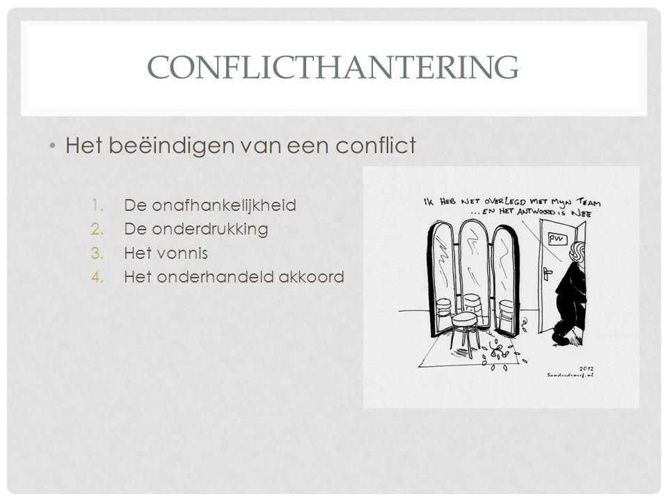 Conflicthantering Het beëindigen van een conflict De onafhankelijkheid