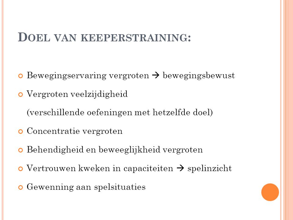 Doel van keeperstraining: