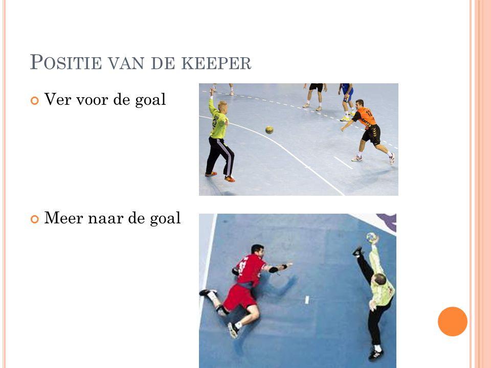 Positie van de keeper Ver voor de goal Meer naar de goal