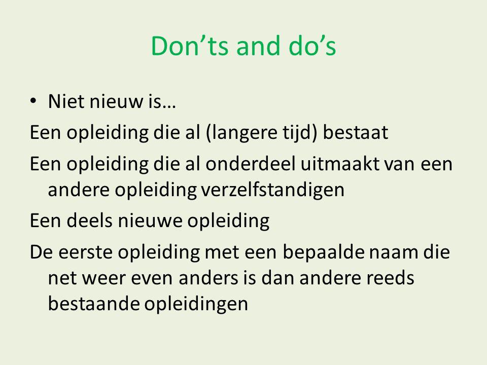 Don'ts and do's Niet nieuw is…