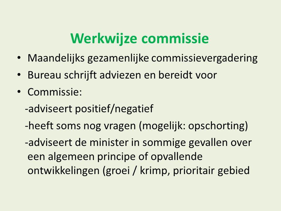 Werkwijze commissie Maandelijks gezamenlijke commissievergadering