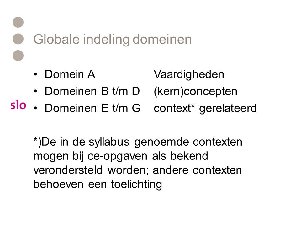 Globale indeling domeinen
