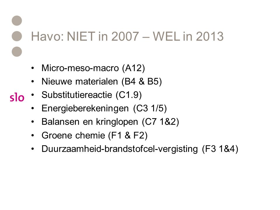 Havo: NIET in 2007 – WEL in 2013 Micro-meso-macro (A12)