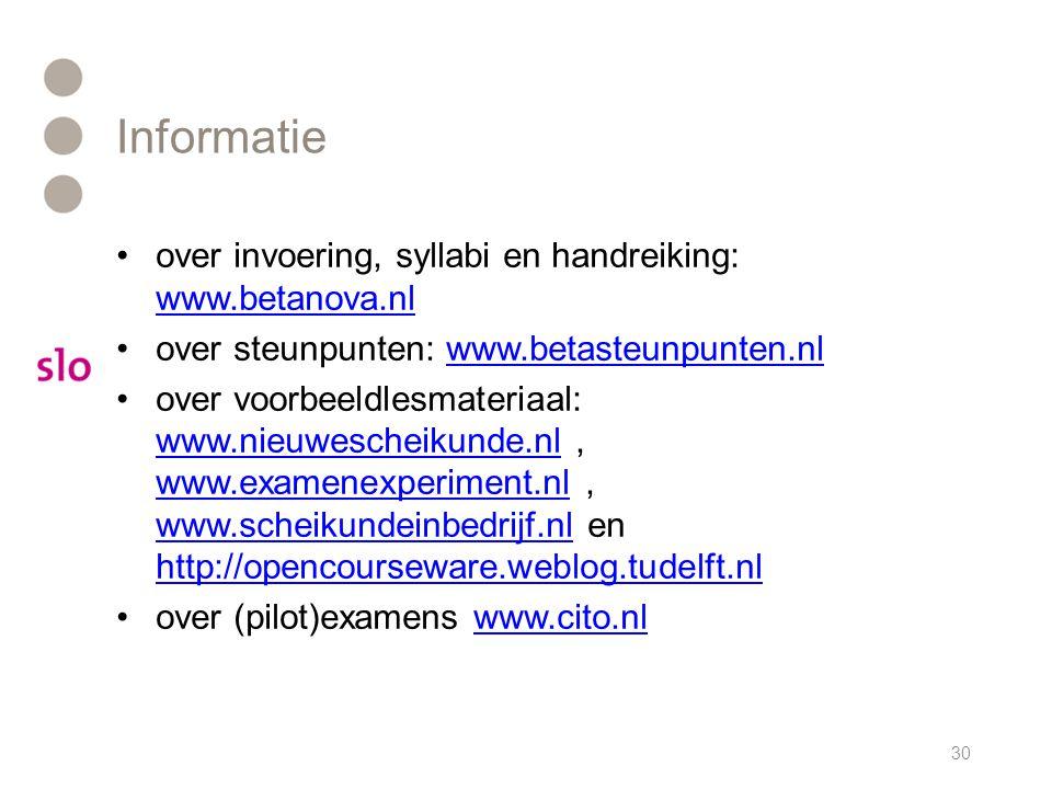 Informatie over invoering, syllabi en handreiking: www.betanova.nl