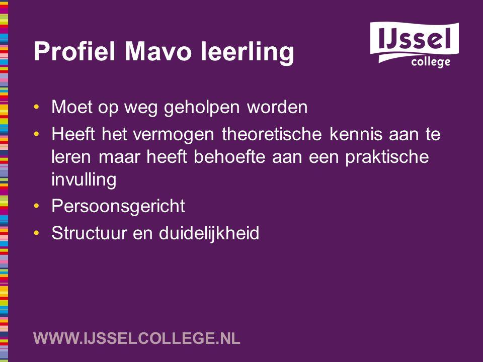 Profiel Mavo leerling Moet op weg geholpen worden