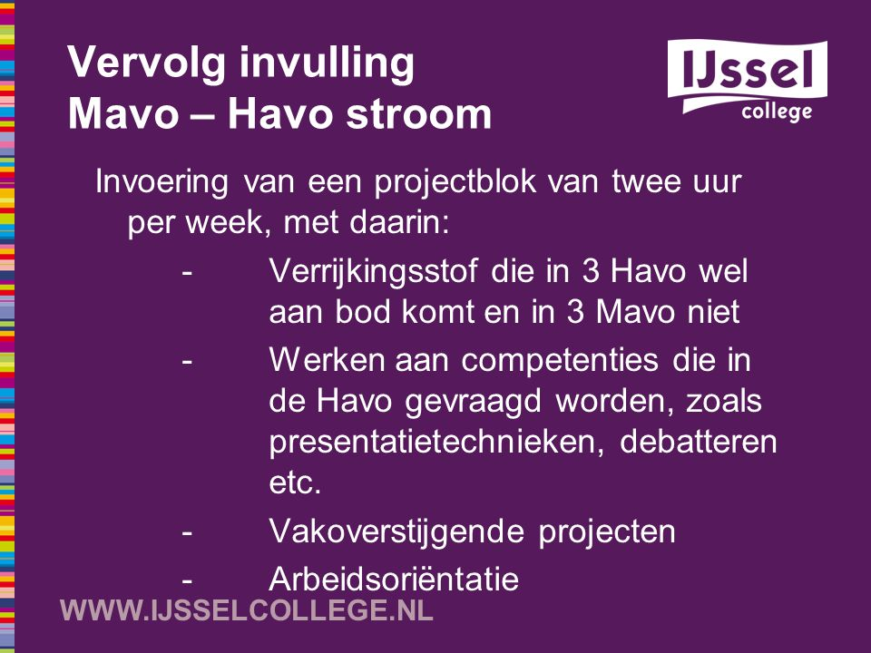Vervolg invulling Mavo – Havo stroom