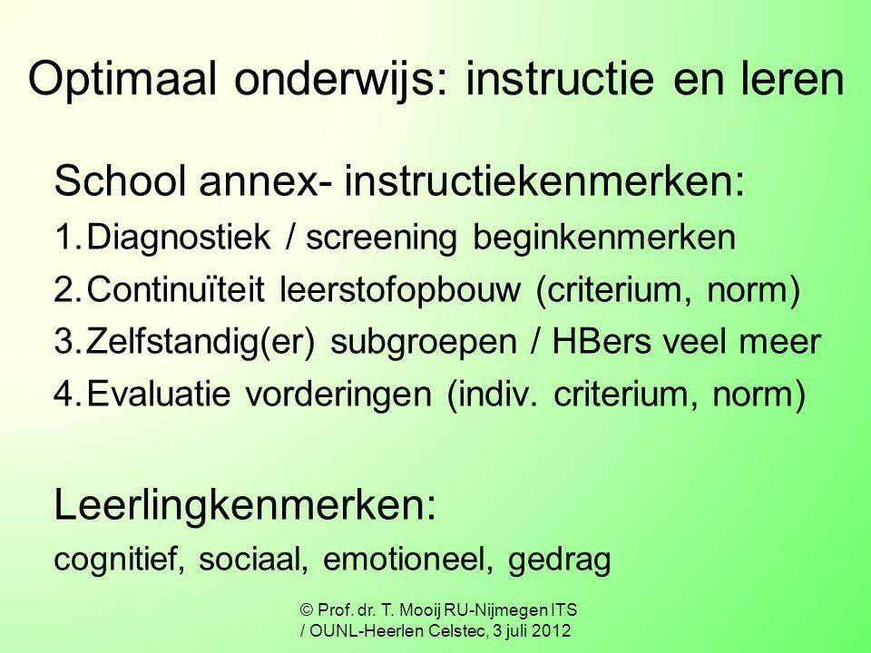 Optimaal onderwijs: instructie en leren