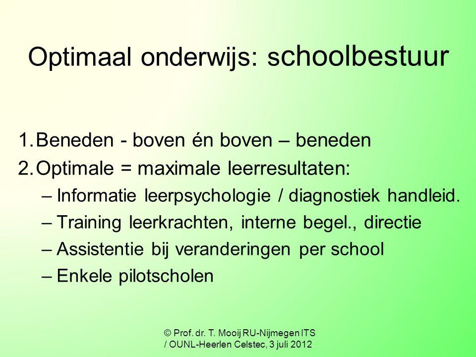 Optimaal onderwijs: schoolbestuur